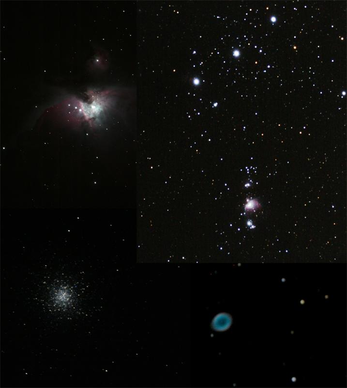 オリオン座中心付近、M13、リング星雲